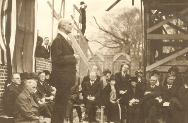 E. Y. Mullins giving a speech in the unfinished Norton Hall