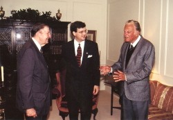 Carl F. H. Henry, R. Albert Mohler, and Billy Graham talking during the week of Dr. Mohler's inauguration