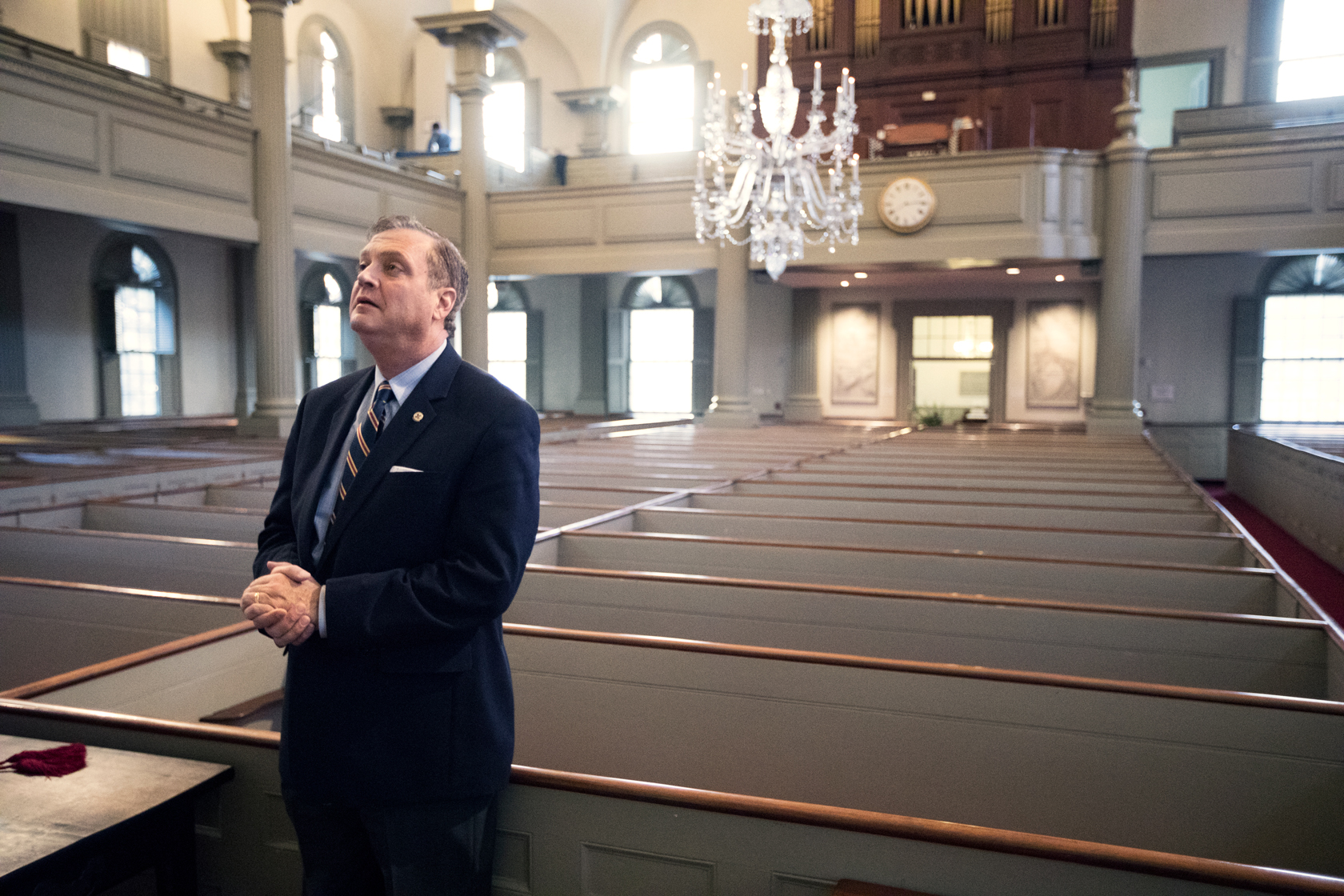 Mohler stands in the sanctuary of the First Baptist Church in America in Providence, Rhode Island.