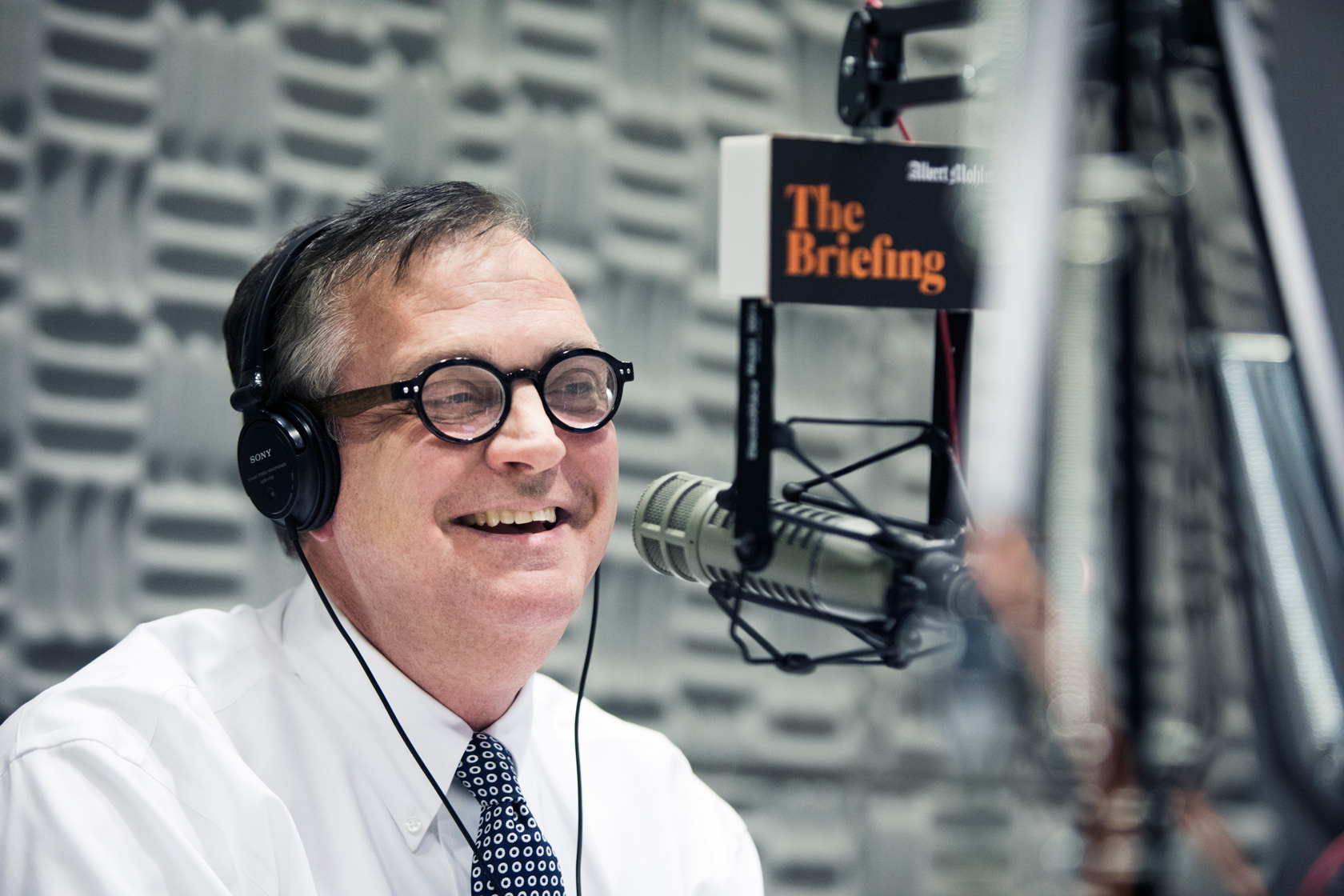 Mohler records The Briefing in his on-campus studio.