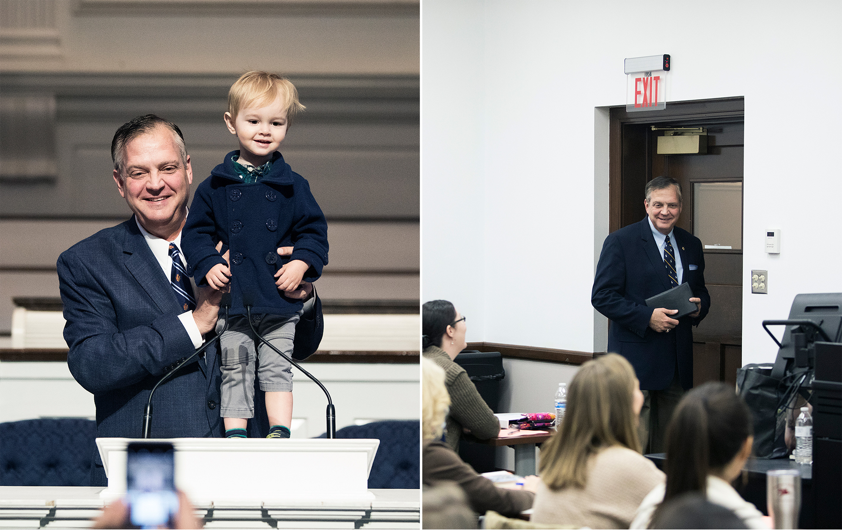 Mohler stands his grandson, Benjamin, on the pulpit of Alumni Memorial Chapel. & Mohler interrupts a class of the Seminary Wives Institute to greet his wife.