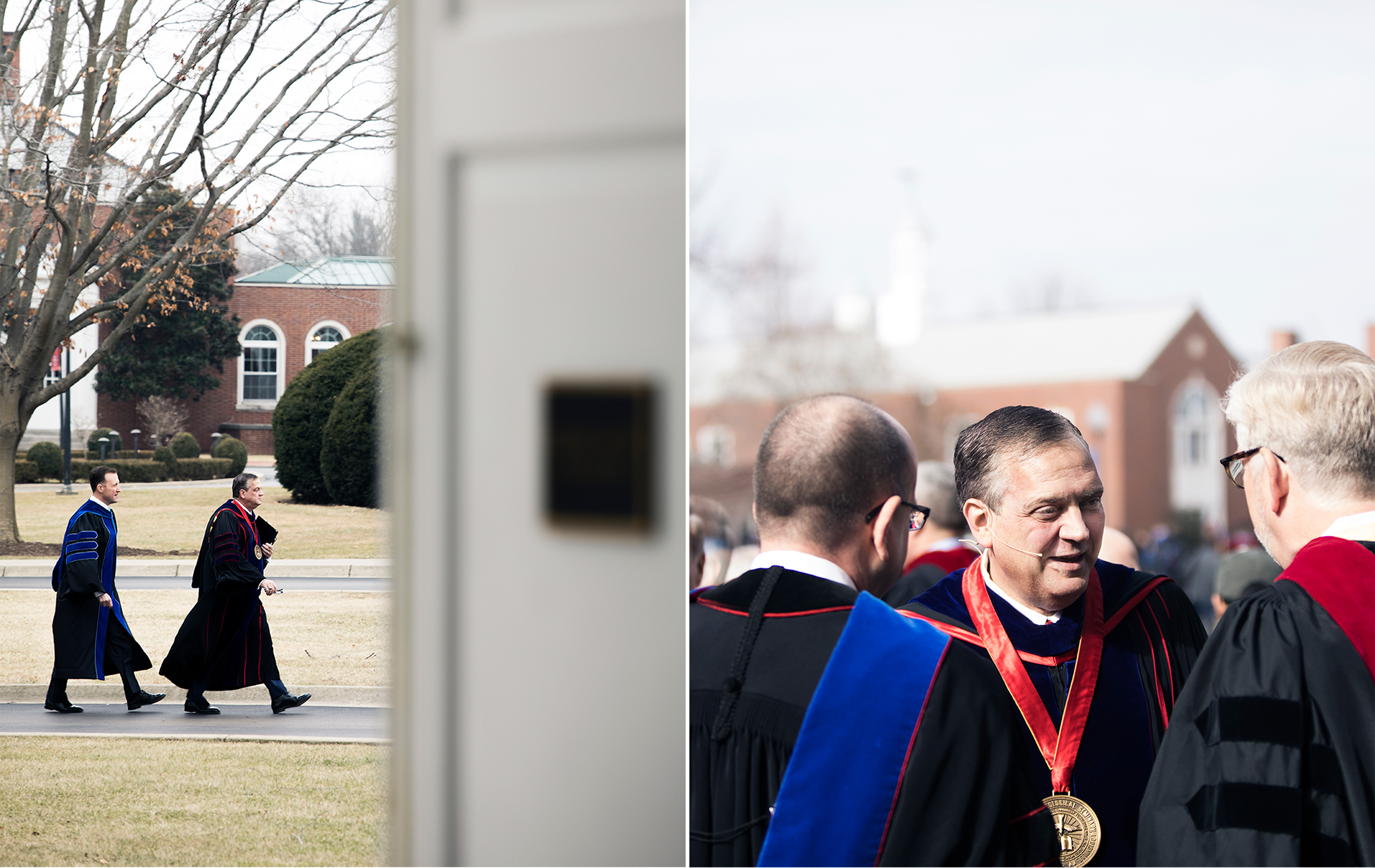 Mohler with deans Hershael W. York and Adam W. Greenway after convocation. & Mohler and Boyce College dean Matthew J. Hall walk to chapel before spring convocation.