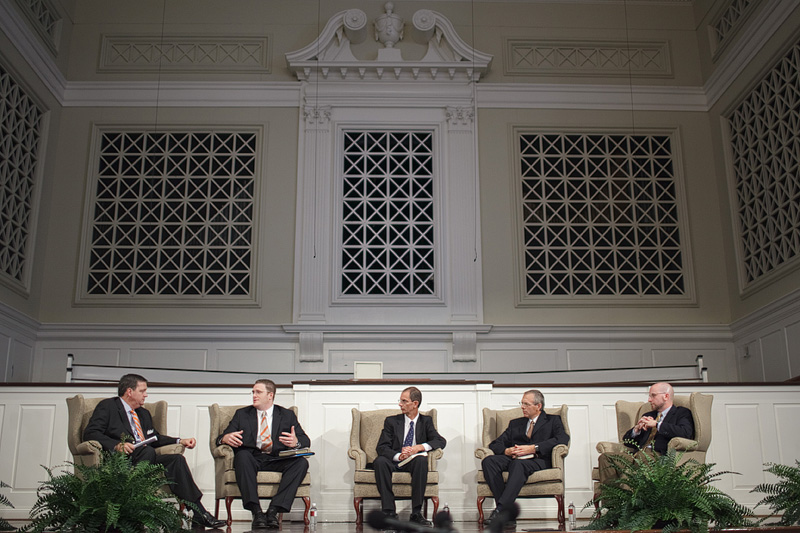 (L-R) R. Albert Mohler Jr., Denny Burk, Tom Schreiner, Mark Seifrid and Brian Vicker at a panel discussing N.T. Wright's doctrine of justification. Photo by John Gill