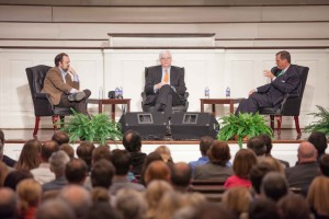 "R. Albert Mohler Jr., (right) president of The Southern Baptist Theological Seminary, discusses religion in public life with ""The New York Times"" columnist Ross Douthat (left) and radio talk show host Dennis Prager during a Jan. 28 event in Southern Seminary's Alumni Memorial Chapel."