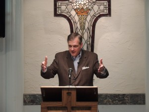 R. Albert Mohler Jr., president of The Southern Baptist Theological Seminary, preaches Feb. 25 at First Baptist Church in Provo, Utah. Earlier the same day, Mohler spoke at Brigham Young University. (Courtesy Photo)