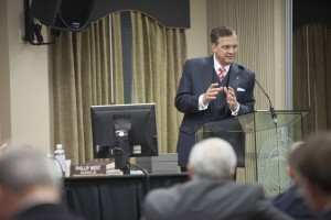 President R. Albert Mohler Jr. speaks April 15 during the board of trustees meeting of The Southern Baptist Theological Seminary in Louisville, Ky.