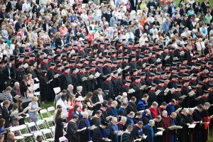 Graduates, faculty and guests gather May 16 for the 213th commencement exercises of The Southern Baptist Theological Seminary in which 255 students received degrees on the Seminary Lawn on the school's campus in Louisville, Ky.