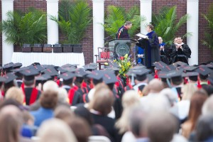 Southern Seminary President R. Albert Mohler Jr. (left) presents to Robert L. Plummer the annual Findley B. and Louvenia Edge Faculty Award for Teaching Excellence during the school's May 16 commencement exercises. A member of the faculty since 2002, Plummer is associate professor of New Testament interpretation.