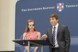 Blake Rogers speaks at the Southern Seminary alumni luncheon June 11 in Baltimore, Maryland. With Blake is his wife, Abigail. Both, who are recent Boyce College graduates, told how the undergraduate school of Southern Seminary has impacted their lives and ministries.