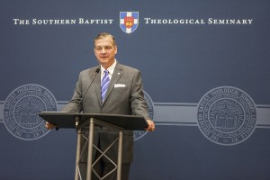 R. Albert Mohler Jr., president of The Southern Baptist Theological Seminary, gives an update to alumni and friends during the annual luncheon held in conjunction with the Southern Baptist Convention annual meeting, June 11 in Baltimore, Maryland.