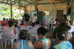 Boyce College student and basketball player Brantley Beck preaches at the community center of Menino Jesus in Brazil.
