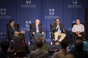 Raymond Johnson moderates a discussion on global missions with Zane Pratt, Jeff K. Walters, and Adam W. Greenway during Alumni Academy, July 31.
