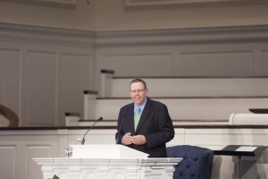 Randy L. Stinson, provost of Southern Seminary, delivers a sermon on James 3:1-2 in Alumni Chapel, Aug. 21.