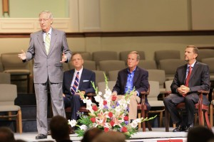 Sen. Mitch McConnell shares his views on religious liberty, abortion, and immigration reform with an audience at Eastwood Baptist Church in Bowling Green, Kentucky.
