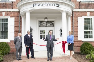 President R. Albert Mohler Jr. leads a dedication ceremony of renovated Mullins Complex, Aug. 19. He is joined (left to right) by Dan DeWitt, dean of Boyce College; trustee chairman Philip Gunn, speaker of the Mississippi House of Representatives; and first lady Mary Mohler, who performed the ribbon cutting.