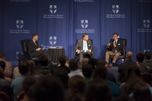 J. Scott Bridger (left), director of the Jenkins Center for the Christian Understanding of Islam, moderates a Sept. 2 panel discussion with Southern Seminary President R. Albert Mohler Jr. and Michael A. Youssef, founding pastor of the Church of the Apostles, Atlanta, Georgia.