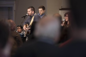 Norton Hall Band leading worship at one of Southern Seminary's weekly chapel services.