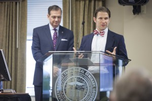 Patz speaks to trustees of The Southern Baptist Theological Seminary while President Mohler looks on.