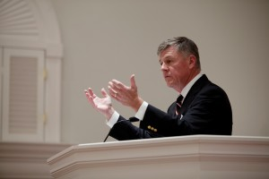 "Steven J. Lawson, president of OnePassion Ministries, delivers a plenary address, ""Preaching George Whitefield,"" at the eighth annual conference for the Andrew Fuller Center at The Southern Baptist Theological Seminary, Oct. 21."