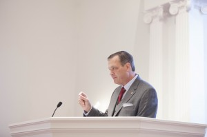 R. Albert Mohler Jr., president of The Southern Baptist Theological Seminary, delivers a special Heritage Week message in Broadus Chapel, Oct. 15.