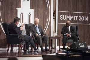 Southern Seminary President R. Albert Mohler Jr. moderates a panel discussion on expository preaching with John MacArthur and H.B. Charles Jr., Oct. 29.