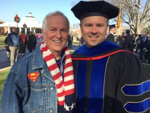 Sean McDowell celebrates with his father, Josh McDowell, a renown Christian apologist, graduating with the doctor of philosophy degree from The Southern Baptist Theological Seminary, Dec. 12. Sean McDowell recently co-authored with John Stonestreet, Same-Sex Marriage: A Thoughtful Approach to God's Design for Marriage.