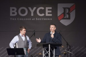 Boyce College Dean Dan DeWitt and Daniel Patz, current president of Northland International University, speak Feb. 2 in Louisville to a special dorm meeting to discuss plans for Boyce College Northland Campus.