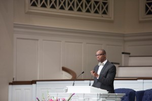 associate executive director for convention relations and communications for the Kentucky Baptist Convention, delivers a March 26 chapel message at Southern Seminary.
