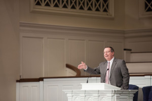 Tom James, president of the Kentucky Baptist Convention, delivers an April 16 chapel message at The Southern Baptist Theological Seminary.