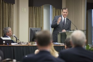 R. Albert Mohler Jr., president of The Southern Baptist Theological Seminary, speaks to the school's board of trustees in his April 21 plenary session.