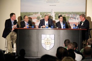 Southern Seminary President R. Albert Mohler Jr., ERLC President Russell Moore, First Baptist Orlando pastor David Uth, IBI pastor Miguel Nunez, and Southern Seminary administrator Matthew J. Hall participate in a panel discussion on eschatology.
