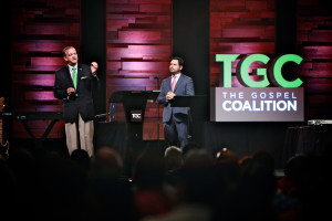 Southern Seminary President R. Albert Mohler Jr. speaks through an interpreter to more than 700 church leaders at the first-ever TGC Spanish Pre-Conference, April 13.