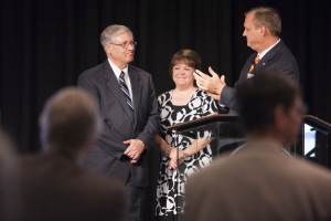 Southern Seminary President R. Albert Mohler (right) congratulates veteran preaching professor Robert Vogel (left) at his May 12 retirement luncheon.