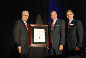 Southern Seminary President R. Albert Mohler Jr. receives the Edwin Meese III Originalism and Religious Liberty Award from Alliance Defending Freedom President Alan Sears (left) and Family Research Council President Tony Perkins (right).