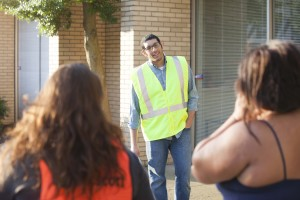 Speak for the Unborn director Andrew King, a Southern Seminary Ph.D. student, speaks to a woman entering the clinic.
