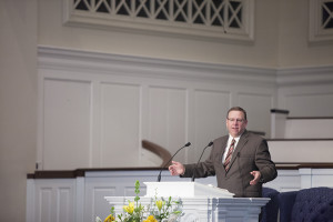 Provost Randy Stinson preaches during SBTS chapel, Sept. 3