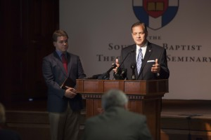 Southern Seminary President R. Albert Mohler Jr. addresses the media in an Oct. 5 news conference to refute the claims of local LGBT activists.