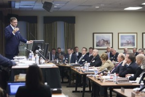 Southern Seminary President R. Albert Mohler Jr. addresses the Board of Trustees in the Oct. 13 plenary session.