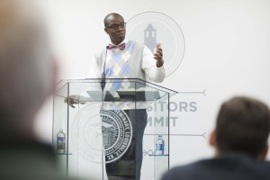 Curtis Woods, associate executive director of convention relations for the Kentucky Baptist Convention, addresses church leaders at the Oct. 26 Expositors Summit Preconference on racial reconciliation.