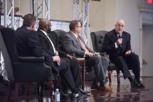 Derek W.H. Thomas (right), pastor of First Presbyterian Church in Columbia, South Carolina, participates in a panel discussion on preaching with Dan Dumas, senior vice president for institutional administration at Southern and conference host, Charles, and Mohler.