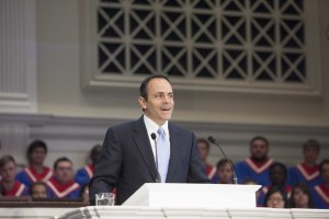 Kentucky governor-elect Matt Bevin speaking during Southern Seminary's Heritage Week Oct. 9, 2012, prior to the dedication of the Bevin Center for Missions Mobilization.