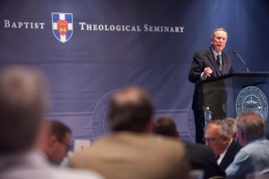 Bob Russell, retired pastor of Louisville's Southeast Christian Church, offers leadership principles to more than 200 community leaders gathered for a luncheon event at Southern Seminary.