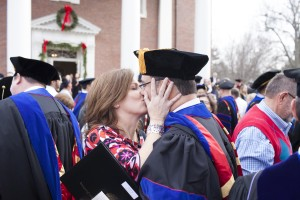 Juan R. Sanchez and his wife, Jeanine, celebrate Sanchez receiving his doctoral degree during the Dec. 11 commencement.