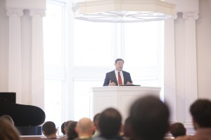 "Mark Dever, senior pastor of Capitol Hill Baptist Church in Washington, D.C., lectures on ""The Use of Preaching"" in Southern Seminary's Broadus Chapel, Feb. 24."