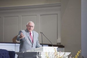 David O. Dykes, member of the executive committee of the Southern Baptist Convention and two-time Southern Seminary alumnus, preaches from Rom. 12 at SBTS chapel, March 22.