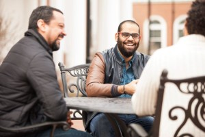 Southern Seminary students (left to right) Joel Peña, Jairo Namnún and Erick Jimenez, all from the same church in the Dominican Republic, sit together at Towery Plaza.