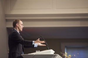 David Platt, president of the International Mission Board, preaches during a March 31 chapel during the Great Commission Summit