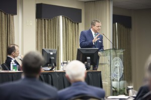 Southern Seminary President R. Albert Mohler Jr. addresses the trustees during the board's April 18 meeting.