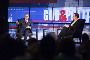 "R. Albert Mohler Jr. and Cal Thomas discuss personal faith and politics at ""God and Politics"""