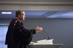 R. Albert Mohler Jr., president of Southern Seminary and Boyce College, address the 150 graduates of Boyce in Alumni Chapel, May 13.